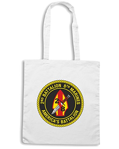 T-Shirtshock - Borsa Shopping TM0323 2nd Battalion 8th Marine Regiment USMC usa Bianco