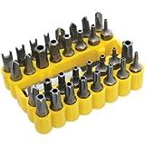 Set de 33 puntas de destornillador y soporte de taladro, hexagonal, torx y estrella, en caja amarilla