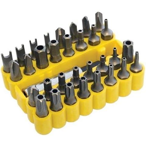 33pc Destornillador Bit Set Herramienta de Soporte para taladro Torx Hex en amarillo funda