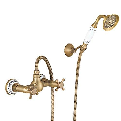 PLYY Dusche-Hahn-europäischer Art-Bad u. Dusche-Hahn-Satz-Wand-montiertes Messingregen-Duschset