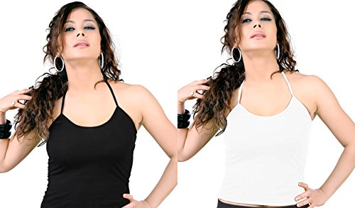 OFFER Rs. 100 off - Lady Heart Women Girls Viscose / Modal Halter Neck Spaghetti Tank Top Body Fit Size S / M / L , Pack of 2 ( BLACK + WHITE )