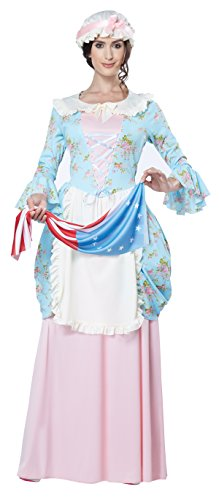 Women's Colonial Lady Costume, Blue/Pink, Small ()