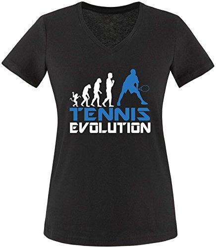 EZYshirt® Tennis Evolution Damen V-Neck T-Shirt Schwarz/Weiss/Blau