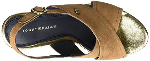 Tommy Hilfiger E1285del 6b, Sandales Bout Ouvert Femme Marron (Summer Cognac 929)