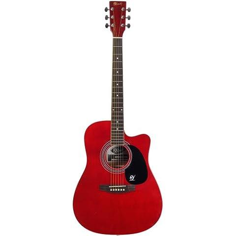 Lindo Apprentice-Serie Cutaway- Chitarra acustica con custodia, colore Rosso lucido - Custodia Chitarra Acustica Serie