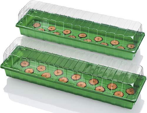 Florabest® Anzuchtkasten-Set, 2 Frühbeete + 2 transparente Hauben + 40 Kokos-Quelltabs