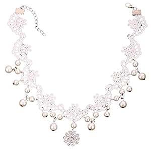 Yazilind bijoux forme fleur blanche dentelle venitienne collier en cristal de perle de dentelle collier