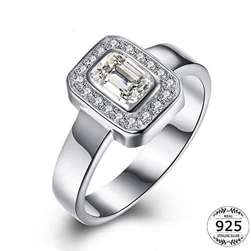 Pendant YU Ring aus 925er Sterlingsilber, geometrisch, quadratisch, Zirkonia, Einzelstein, für Damen, Größe 9, 6