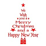 Happy Event Frohe Weihnachten Weihnachtsbaum Briefe Haushaltsraum Wandaufkleber | Entfernbarer Wandbild Dekor Aufkleber | Fensterglas Aufkleber (Rot)