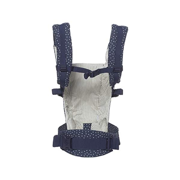 Ergobaby Baby Carrier Backpack for Newborn to Toddler up to 20kg, Galaxy Adapt 3-Position Ergonomic Child Carrier Ergobaby Baby Carrier for newborns - The ergonomic bucket seat gradually adjusts to your growing baby, to ensure baby is seated in a natural frog-leg position (M-shape) from newborn to toddler (3.2-20kg / 7-45lbs). NEW - Now with lumbar support. Long-wearing comfort for parents with even weight distribution between hips and shoulders. Lumbar support waistbelt that can be adjusted to the height of the carry position for extra, long-wearing comfort. Adapt 3carry positions: front-inward, hip and back. The carrier has a padded, foldable head and neck support and a tuck-away baby hood for sun protection (UPF50+) and privacy. 3