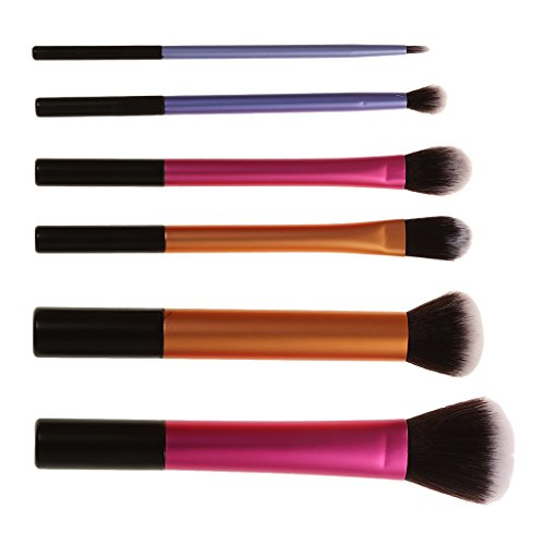 Baoblaze Kit 6 Pinceaux de Maquillage Fond de Teint Poudre Eyeliner Contour Lustrage Correcteur Anti-cernes Contour Yeux et Visage