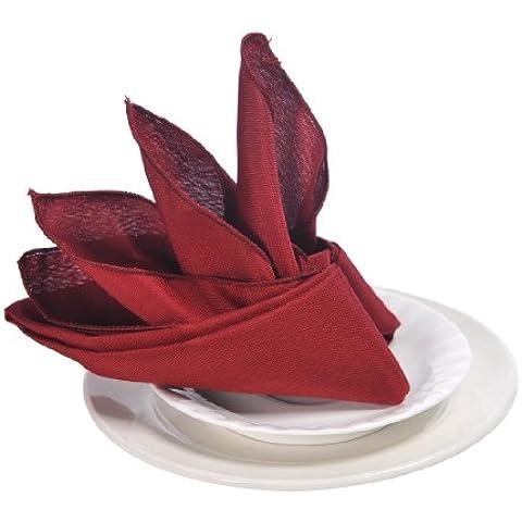 Remedios 49cm x 49cm Polyester Servilletas de boda para 24PCS Banquete Cena de Celebración de días festivos,Borgoña