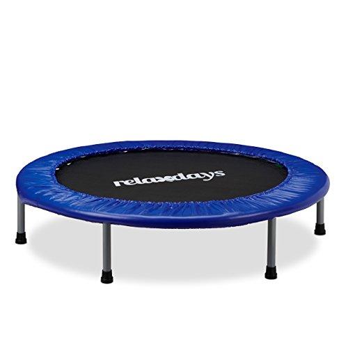 Relaxdays Trampolin Kinder, Faltbar, Max. Personengewicht: 45 kg, HxBxT: 22 x 102 x 102 cm, blau-schwarz