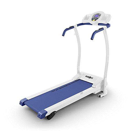 Klarfit Pacemaker X3 Laufband Heimtrainer (1,5 PS, 12 km/h, Trainingscomputer , Pulsmesser, 3 Steigungsstufen, zusammenklappbar) weiß-blau