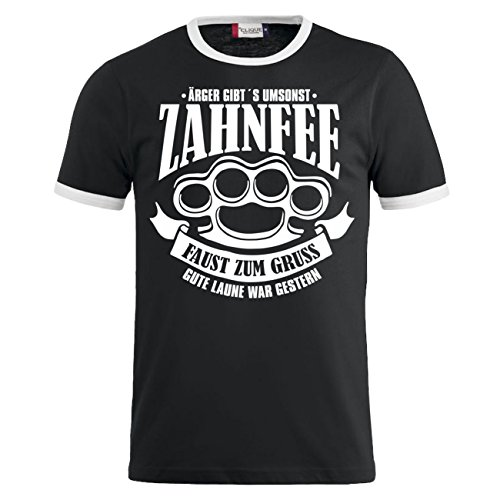 Männer und Herren T-Shirt Zahnfee - Faust zum Gruss Schwarz/Weiß