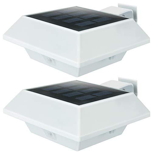 KEENZO LED Dachrinnenlampe, Solar Dachrinnenleuchte, 12 LEDs, 2 W, PIR-Sensor, Weiße,Kaltweißes Licht, 2er-Set