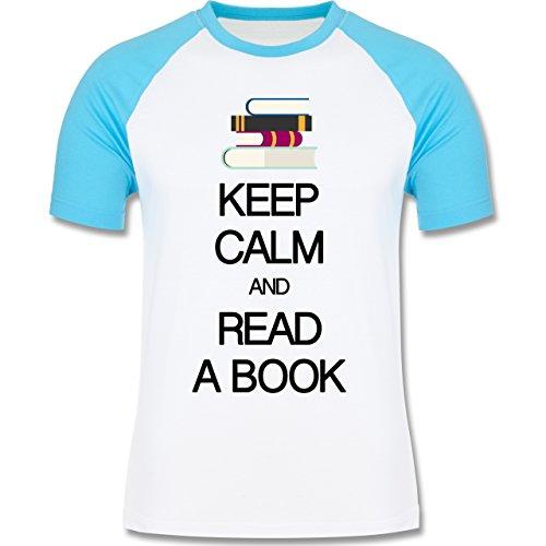 Keep calm - Keep calm and read a book - zweifarbiges Baseballshirt für Männer Weiß/Türkis