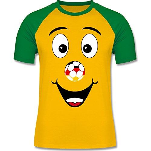 EM 2016 - Frankreich - Deutschland lustiges Gesicht - zweifarbiges Baseballshirt für Männer Gelb/Grün