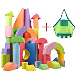 GKPLY Riesige Schaumstoffblöcke, pädagogisches Spielzeug für Kinder, Bauspielzeug, 50 Verschiedene Formen und Größen, wasserdicht und ungiftig, einschließlich Aufbewahrungstaschen