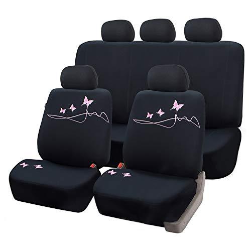 tzbezüge für Auto Schonbezug Komplettset mit Schmetterling schwarz/rosa SCSC0097 ()