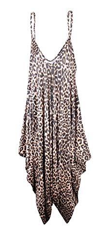 Mono Ancho Estilo Harem para Mujer - Cuello de Pico sin Mangas - Todo en uno - Estampado de Leopardo - UK 24-26/EU 52-54 (Talla Grande)