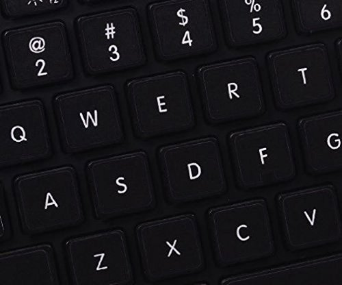 English UK Black Replacement Non Transparent Full Set Keyboard Stickers with White Letters