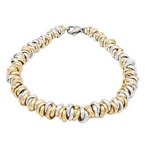 ParticolarModa Bracciale stile nodini intrecciato per donna in alluminio e acciaio argentato dorato 5 mm