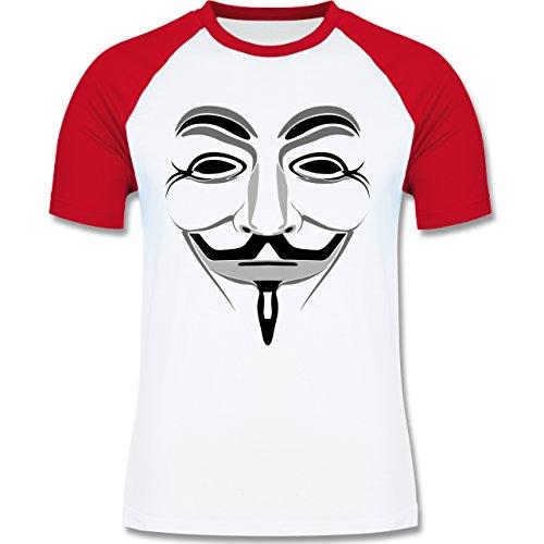 Nerds & Geeks - Anonymous Maske - zweifarbiges Baseballshirt für Männer Weiß/Rot