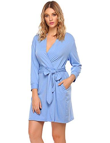 UNibelle Damen Morgenmantel Kimono Baumwolle Bademantel Mit V Ausschnitt Schlafanzug
