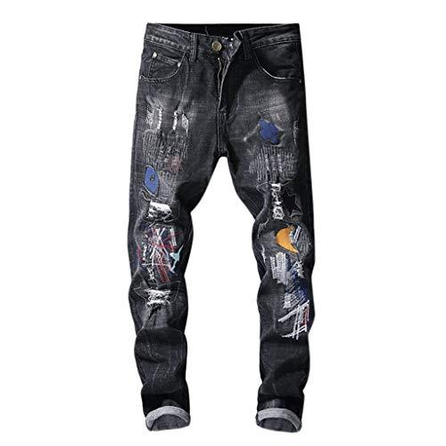 Malloom- Bekleidung Frühling und Sommer Herren Freizeithosen Trend Printed Pocket Jeans Printed Colorful Jeans Black M L XL XXL 3XL 4XL 5XL 6XL