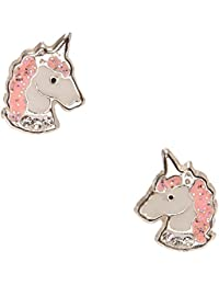 Claire/'s Girl/'s Gold Pastel Unicorn Clip On Earrings Blue//Pink//Purple