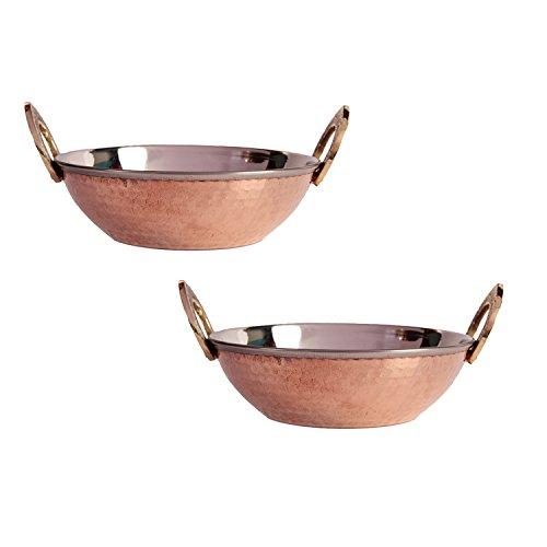 aheli festa della mamma regali set di 2in acciaio INOX martellato rame rotondo Serverware–Pan Karahi piatti ciotole con manico