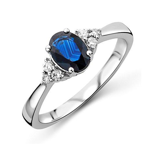 d Saphir Verlobungsring 9KT (375) mit Diamant Brillanten 0.11 ct ()