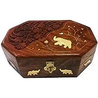 indiasbigshop regalo di giorno del padre Legno artigianale indiano Jewelry Box Brass Inlay Unico elefante con incisione 8 x 5