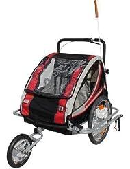 Kinderanhänger Red Loon RB10003J + Jogger mit Federung für 2 Kinder