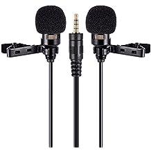 PChero doppio Headed Lavalier clip-on microfono a condensatore omnidirezionale per Apple iPhone, iPad, iPod Touch, Android e di Windows