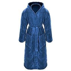 Gräfenstayn® Damen & Herren Kuschelfleece Bademantel mit Kapuze Größe S-XXXL Öko-Tex Standard 100 Flanell Fleece (L, Blau)