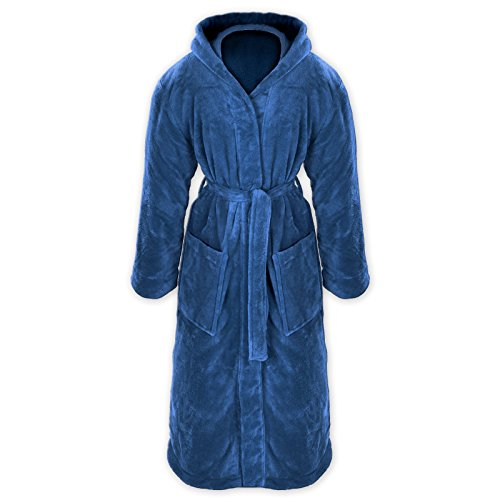 Gräfenstayn® Damen & Herren Kuschelfleece Bademantel mit Kapuze Größe S-XXXL Öko-Tex Standard 100 Flanell Fleece (S, Blau) - Blaue Fleece Bademantel