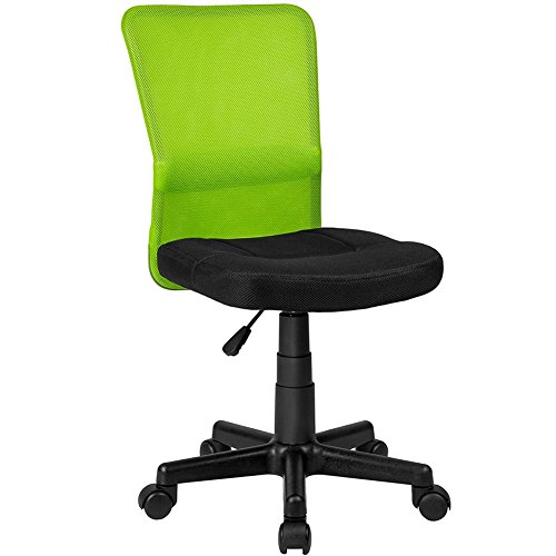 BAKAJI Silla Escritorio Oficina Giratoria Transpirable de Tela Red Altura Ajustable con Ruedas color Verde y Negro