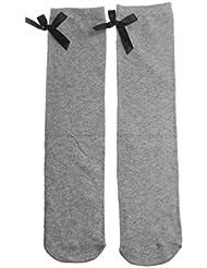 SMARTLADY - 1 Par Calcetines hasta la rodilla del bowknot algodón calcetines lindos para niña