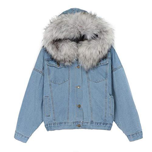 MOVERV Giacca di Jeans Corta Casual Imbottito Cotone Caldo in Lana Pile Giacche con Cappuccio Cappotti con Grande Collo di Pelliccia Morbido da Donna Inverno Cappotto