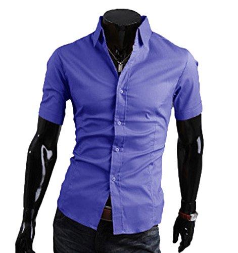 Herren Sommer Schlicht Business Freizeit Hemden Kurzarm Einfarbig Slim Fit Blau