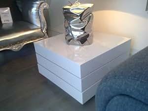 Table basse pivotante laquée blanc