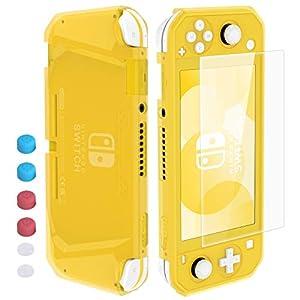 HEYSTOP Hülle für Nintendo Switch Lite,Nintendo Switch Lite Hülle mit Schutzfolie, 6 Joystick Kappen, TPU Schutzhülle für Nintendo Switch Lite Zubehör Stoßdämpfung und Anti-Scratch (Gelb)
