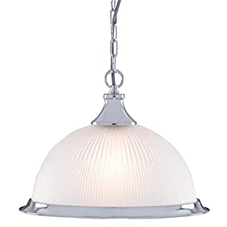 American Diner Satin Silver and Opaque Glass Ceiling Pendant Light, 1044