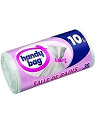 Handy Bag Rouleau de 20 Sacs Poubelle 10 L, Pour Salle de Bains, Fermeture à Liens Hermétique, Résistant, Anti-Fuites, 34 x 40 cm, Blanc