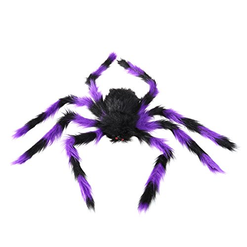 LUOEM Halloween Spinne Gefälschte Plüsch Spinne Scary Spooky Spinne Plüschtier Halloween Party Scary Dekoration Spukhaus Prop 75 cm (Schwarz und Lila)