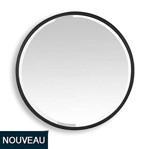 EMDE Miroir Metal Rond Noir 80 cm