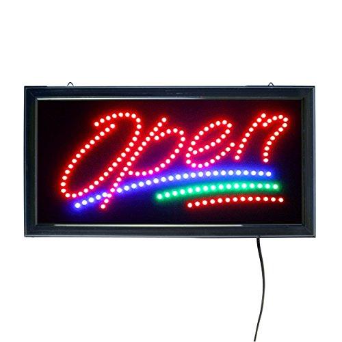 LED Leucht-Schild OPEN Leuchtreklame geöffnet/open - Werbung, annimierte Reklame, Stopper, Rot / Grün / Blau