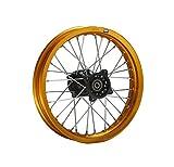 Hmparts Cerchio Alluminio Anodizzato 14 Pollici Posteriore Oro 12 mm Typ2 Pit Bike Dirt Bike Cross
